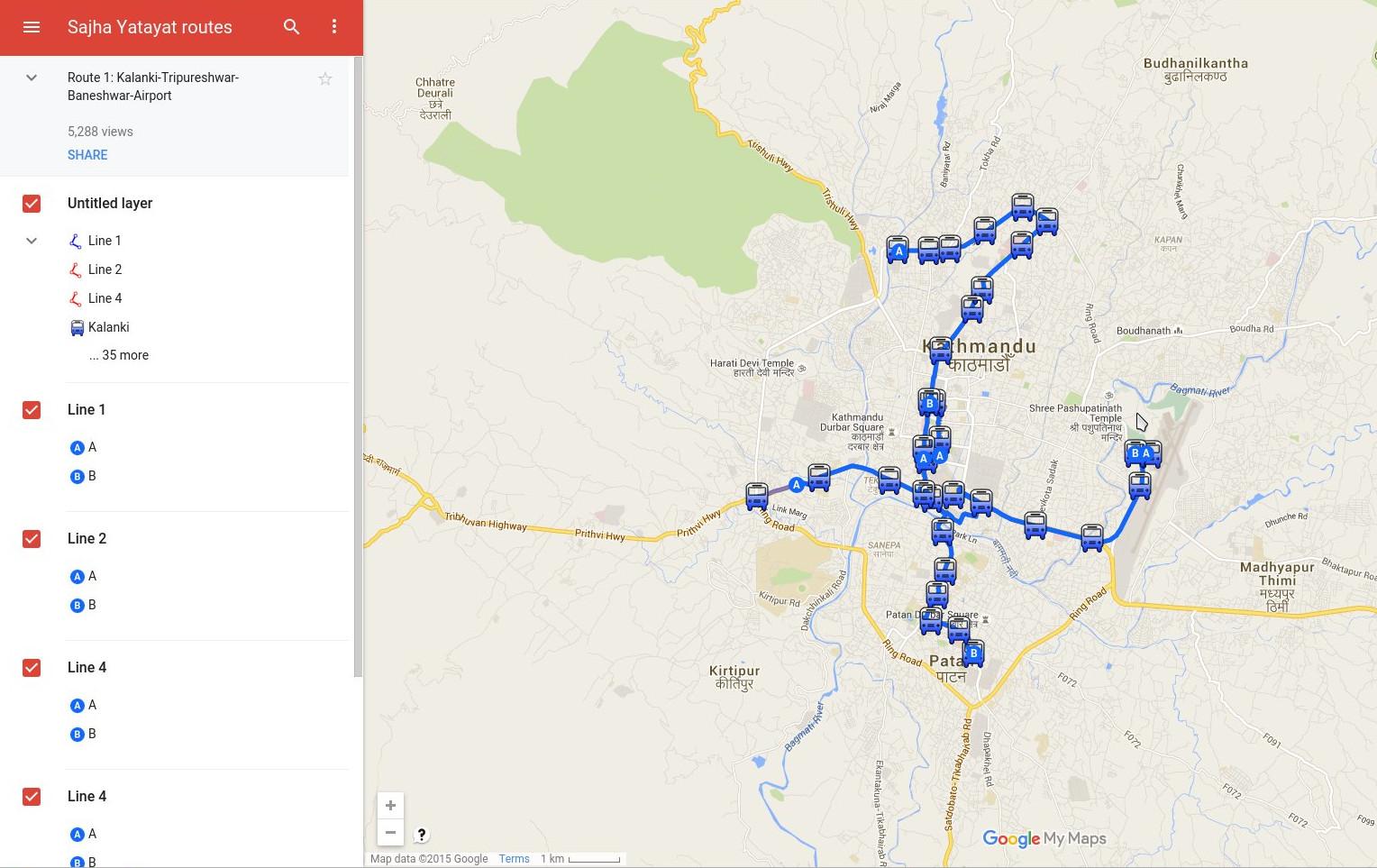 Sajha Yatayat Bus service routes in Kathmandu